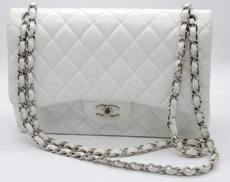 659faa428506 Chanel Light Pink Quilted Caviar Maxi Classic Double Flap Bag ❤ liked on  Polyvore featuring bags