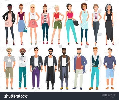 Young Stylish Fashion Vector People Characters Set Business
