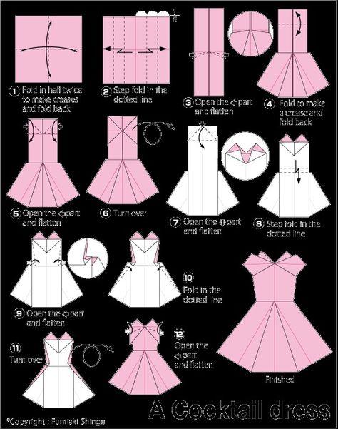 Как сложить платье для открытки