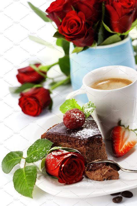 chocolate cake with coffee and beau by Natalia Klenova Photograp on @creativemarket