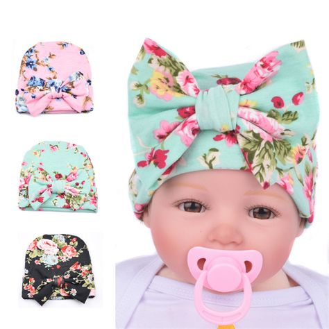 Bow-knot Hat Hospital Cap Floral Beanie Hat for Newborn Baby Infant Girl Toddler