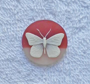 1 carnelian and beige 30 mm. round acrylic butterfly cameo S60 by FlameFlyCreations for $1.50
