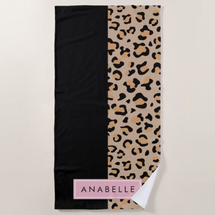 Your Name Animal Print Leopard Spots Brown Beach Towel