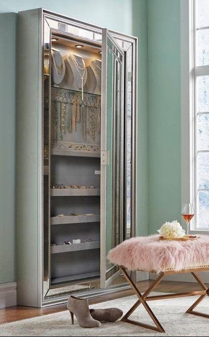 Loren Jewelry Storage Mirror Frontgate Storage Mirror Mirrored Bedroom Furniture Jewellery Storage