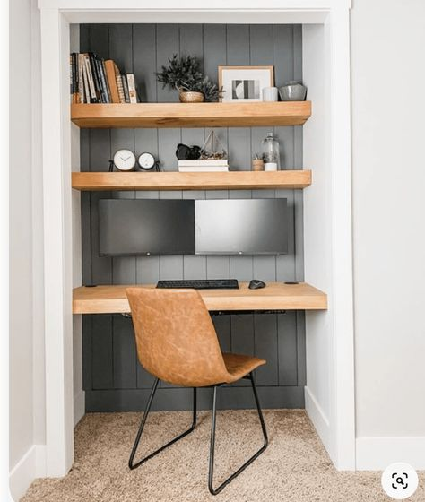 Tiny Home Office, Decor, Home, Small Space Office, Home Office Decor, Home Remodeling, Interior, Home Office Closet, House Interior