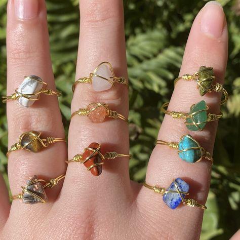 Handmade Wire Jewelry, Wire Jewelry Designs, Beaded Jewelry, Handmade Rings, Diy Wire Jewelry Rings, Diy Jewelry Necklace, Beaded Rings, Jewelry Patterns, Etsy Jewelry