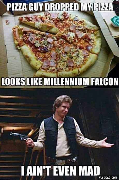 The funny pizza guy looks like a millennium hawk, who is not even mad - Star Wars ❤ - Star Wars Jokes, Star War 3, Death Star, The Force Is Strong, Love Stars, Millennium Falcon, Geek Culture, Haha, The Best