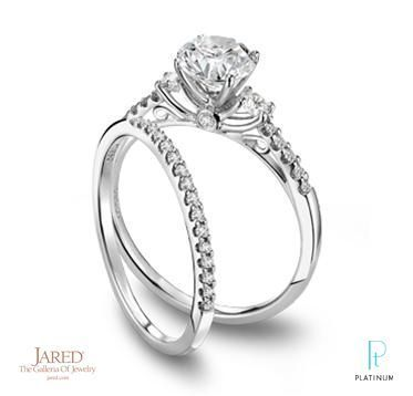 Jared Platinum And Diamond Wedding Ring Set With Twin Round D Antique Engagement Rings White Gold Diamond Alternative Engagement Ring Vintage Engagement Rings