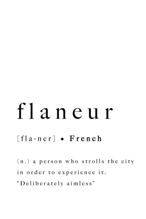 Flaneur French Quote Print Modern Printable Typography Art | Etsy
