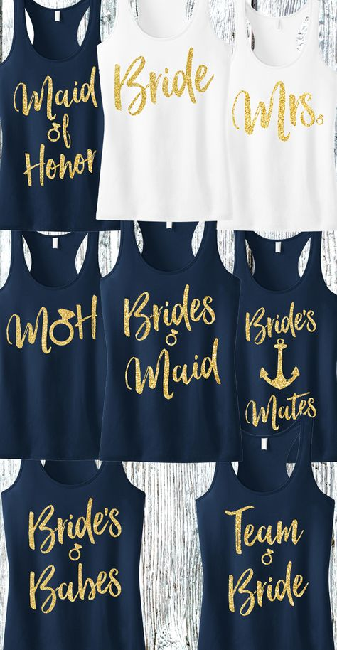 """""""Bridesmaid"""" Gold Glitter Script Tank Top Gold Glitter for bling! Available in Sizes XS, S, M, L, XL, 2XL, 3XL, 4XL COLORS AVAILABLE: - Black with Gold Print - Blush with Gold Print - Navy Blue with G"""