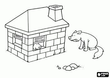 de boze wolf probeert de bakstenen huis slopen en niet de