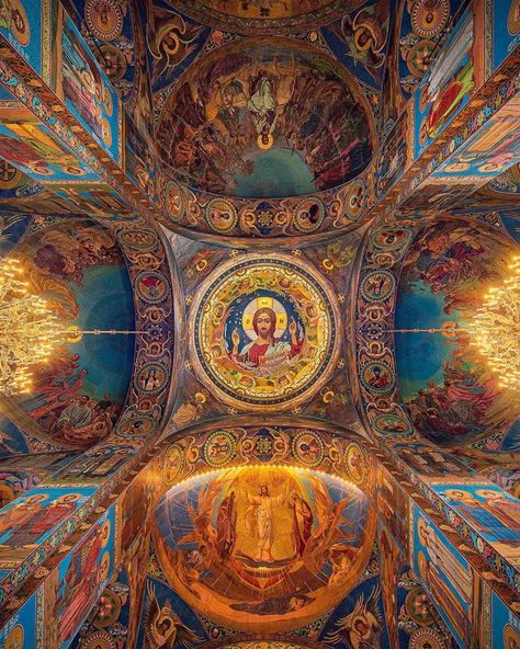 The ceiling of Khram Spasa a Krovi Orthodox church in St. Petersburg, Russia, dedicated to the memory of Tsar Alexander II. Sacred Architecture, Church Architecture, Beautiful Architecture, Beautiful Buildings, Modern Buildings, Catholic Art, Religious Art, Houses Of The Holy, Church Interior