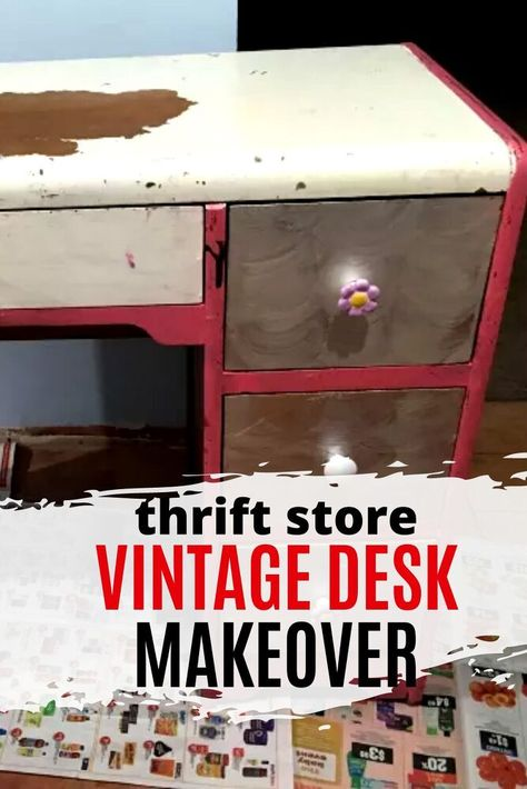 Decorate your kids bedroom on a budget with this vintage desk upcycle idea. See how she restored this wood desk. We love the before and after furniture flip DIY. Upcycled furniture is a great way to decorate a bedroom on a budget.