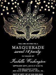 Gold Confetti Masquerade Sweet 16 Party Invitation