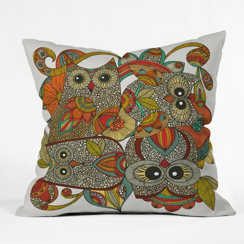 Pillow with a patterned owl motif by artist Valentina Ramos for DENY Designs.
