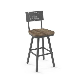 Carbon Loft Kettering Swivel Metal Stool With Distressed Wood Seat