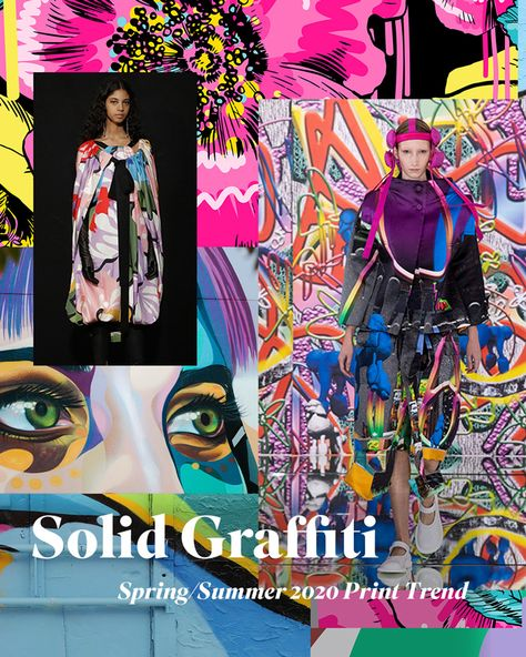 Spring/Summer 2020 Print & Pattern Trend - Solid Graffiti Taking inspiration from the world of graffiti, Spring/Summer 2020 takes on a solid graphic feel in this bold, vibrant print trend.