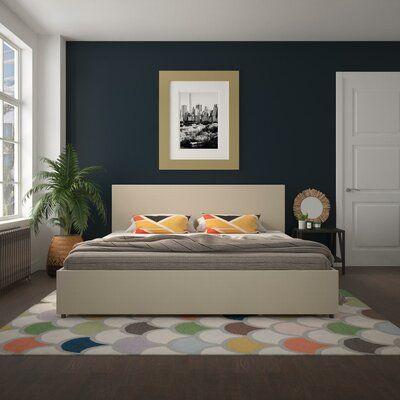 Novogratz Kelly Upholstered Storage Platform Bed Color Dark Gray