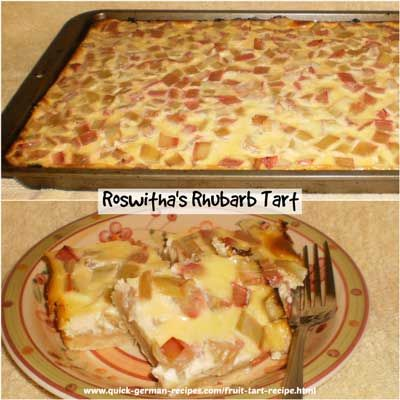 Easy Rhubarb Fruit Tart ... German-style. Check out http://www.quick-german-recipes.com/fruit-tart-recipe.html
