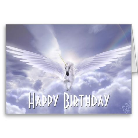 picture of unicorns wth happy birthday | Pegasus Unicorn Happy Birthday Greeting Card