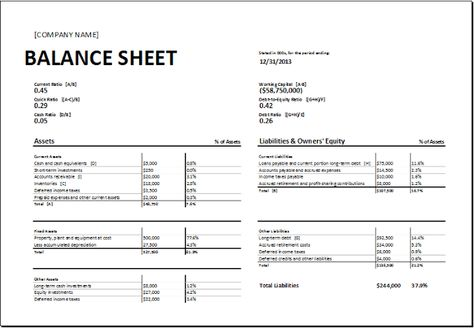 Opening Day Balance Sheet Download At HttpWwwXltemplatesOrg