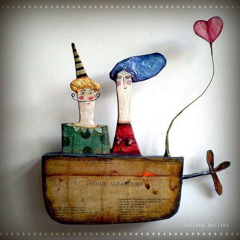 Juliana Bollini paper mache, boot aus zeitung aufkleben, dazu zeichnen + collagenteile