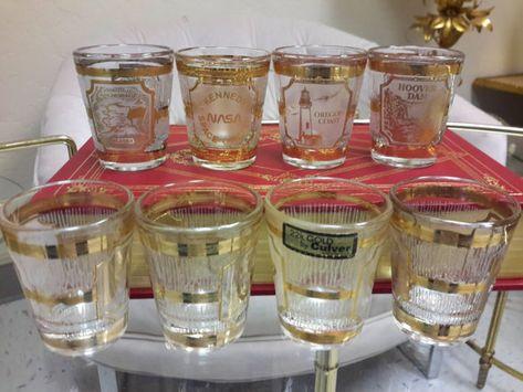 CULVER Shot Glasses 22K GOLD Barware Glassware Set of 8