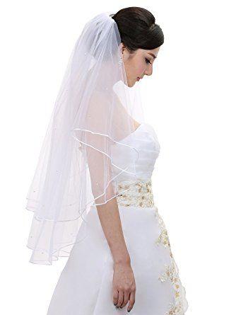 1T Ivory Bridal Fingertip Length Rattail Edge Wedding Veil