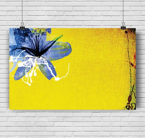 Poster Draw Flower Lys Of Quebec Acrylique Decoration Print Yellow