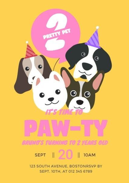 Online Pet Paw Ty Invitation Template Try It Fotor Design Maker