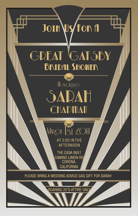 Great Gatsby Invitations Gatsby Style by LovelyStationerybyS