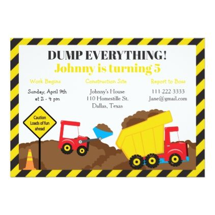 Cute Dump Truck And Digger Birthday Party Invitation Zazzle Com Digger Birthday Parties Digger Birthday Dump Truck Birthday Party
