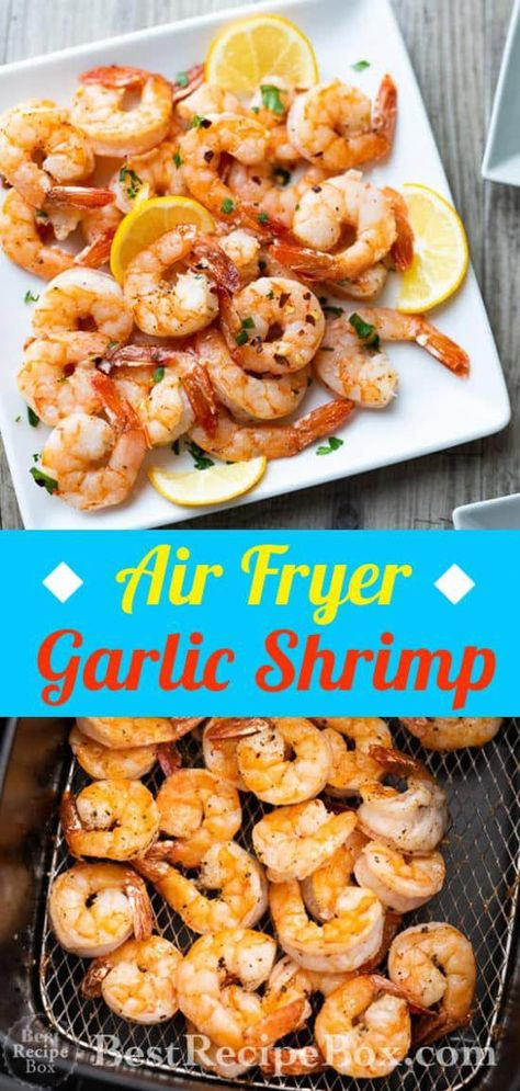 Air Fryer Garlic Shrimp Recipe Healthy Air fried shrimp Air Fryer Garlic Shrimp with Lemon - Shrimp comes in different sizes, so you'll have to adjust cooking times a bit. You'll figure the best time for your air fryer after you've cooked a batch. Air Fryer Recipes Vegetables, Air Fryer Oven Recipes, Air Fryer Dinner Recipes, Air Fryer Recipes For Shrimp, Recipes Dinner, Raw Shrimp Recipe, Simple Shrimp Recipes, Air Fryer Recipes Appetizers, Breakfast Recipes