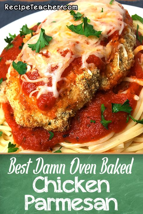Oven Baked Chicken Parmesan recipe uses buttermilk to tenderize and flavorize the chicken. Savory and delicious and super easy to make. #chickenparm #chicken #parmesan #baked