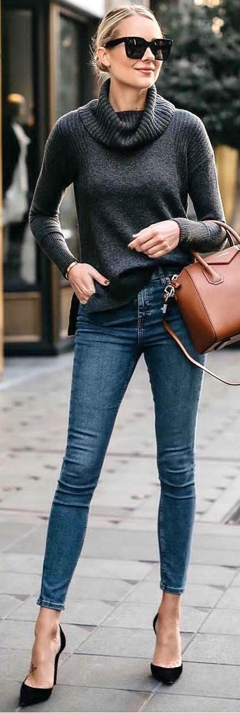 89ea630108 List of Pinterest turtleneck outfit casual street style heels ...