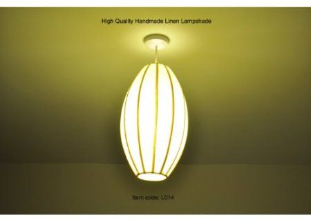 High Quality Handmade Linen Lampshade Oval Shape Light Yellow