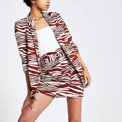River Island Brown zebra print ruched sleeve blazer