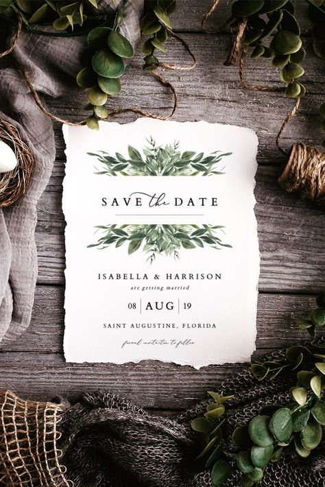 Modern Watercolor Greenery Save the Date Template