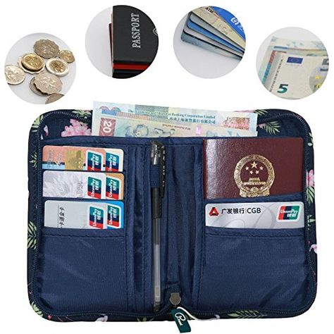 Tuscall Travel Wallet Passport Holder Document Card Organiser Case with Hand...