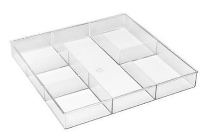 Mainstays Maintays Plastic 6 Section Clear Drawer Organizer White