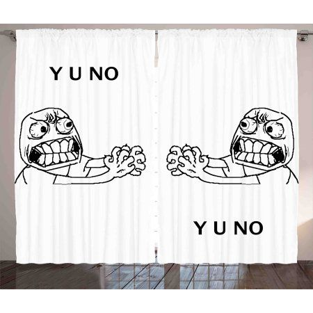 Humor Curtains 2 Panels Set Mascot Rage Guy Meme Face Figure With Big Eyes Full Of Anger Hipster Rod Pocket Curtain Panels Hipster Bedroom Rod Pocket Curtains