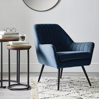 Logan Chair Blue Dunelm Chair Velvet Furniture Seating