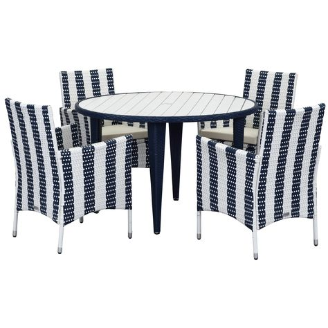 Safavieh Outdoor Living Cooley Navy White Dining Set 5 Piece