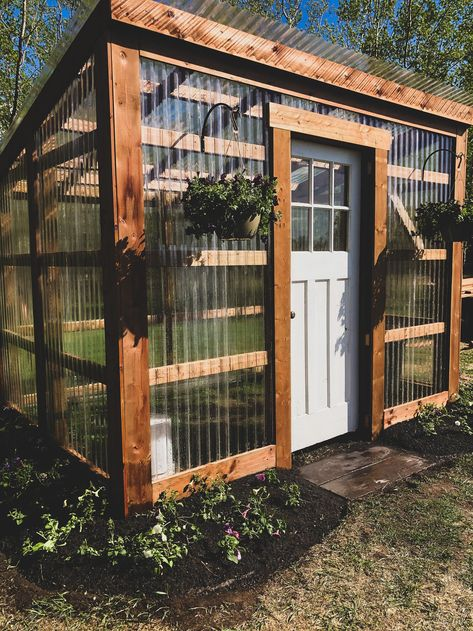 Lean To Greenhouse, Backyard Greenhouse, Greenhouse Plans, Backyard Landscaping, Old Window Greenhouse, Landscaping Around House, Outdoor Projects, Garden Projects, Backyard Projects