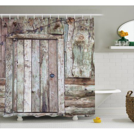 Rustic Shower Curtain Old Rustic Barn Door Cottage Country Cabin Theme Rural Mystic Entrance Of Ho Rustic Shower Curtains Rustic Barn Door Bathroom Decor Sets