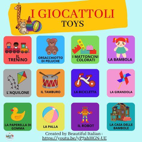 Infografica per imparare i nomi dei giocattoli in italiano