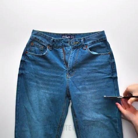 Jean Crafts, Denim Crafts, Jeans Denim, Denim Bag, Sewing Aprons, Sewing Clothes, Diy Clothes, Cut Shirt Designs, Jean Apron - MyKingList.com