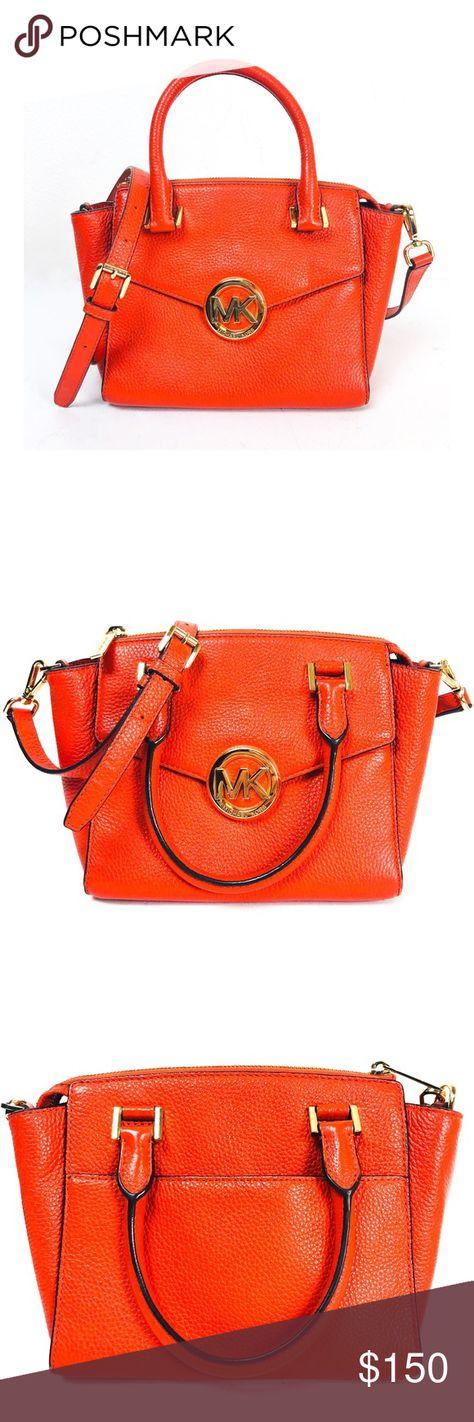 6aec61245329 Michael Kors Orange Small Hudson Leather Satchel Michael Kors Mandarin  Orange Small Hudson Leather Satchel.