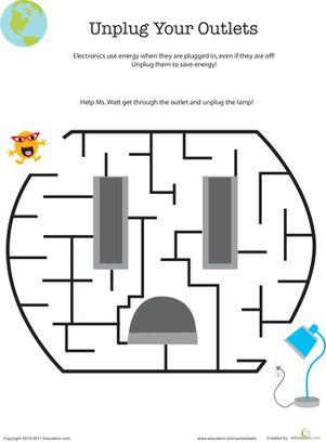 Save Energy Maze | Maze worksheet, Save energy, Worksheets