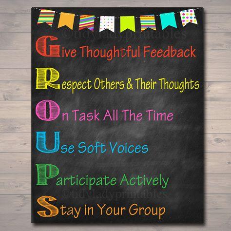 GROUPS Classroom Poster, Classroom Decor, Classroom Management, Teacher Printables, Educational Poster, Elementary Teacher,
